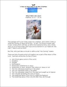 Click here to view or download Matthew 24:31 - 25:30 Bible Study