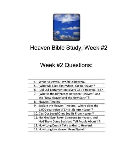 Heaven Bible Study Week #2